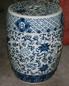 Chinese antique blue and white ceramic stool $1~$120