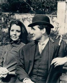 Diana Rigg & Patrick Macnee, The Avengers. (The Real ones). Isn't she gorgeous! She looks just like my wife.
