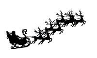Santa Claus and reindeer clip art, silhouette graphic Christmas Eve flying Santa with sleigh, LeeHansen.com