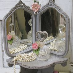 Your place to buy and sell all things handmade Corner Mirror, Corner Shelves, Shabby Home, Shabby Chic, French Farmhouse Decor, Romantic Cottage, Pink Jewelry, French Chic, Art Decor