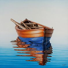 Four-Winds-original-painting-of-a-boat-with-relection-on-a-beautiful-blue-sea-by-artist-h-cardozo. Watercolor Paintings, Original Paintings, Acrylic Paintings, New Zealand Art, Boat Art, Pt Boat, Seascape Art, Boat Painting, Belle Photo