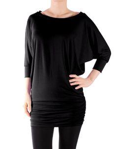 836716991d Ladies Dolman Style 3 4 Sleeve Long Hem Top