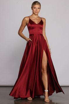 Cute Prom Dresses, Dance Dresses, Ball Dresses, Red Dress Prom, Red Flowy Dress, Long Dresses, Simple Formal Dresses, Maroon Dress, Trendy Dresses