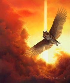 Winged Wolf Flying in Sunset Totem Art Print by EtherealStudios, $15.00