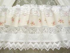 Rideaux - Vintage Shabby Chic White Cottage rideau rose 292 - un morceau de bazar bleu concepteur sur DaWanda