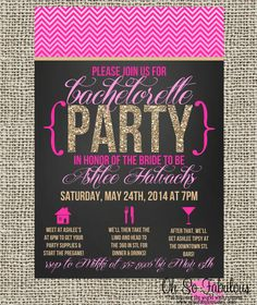 Chevron Glitter Bridal Shower Bachelorette Party Invitation - Customizable and PRINTABLE on Etsy, $11.20