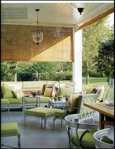 Steven Gambrel arranged furniture of his own design covered in bright lime green on the terrace of his first Sag Harbor retreat. Photo by William Waldron. Outdoor Bamboo Shades, Outdoor Blinds, Outdoor Rooms, Outdoor Living, Outdoor Furniture Sets, Outdoor Decor, Patio Blinds, Outdoor Lounge, Porch Shades