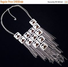 Silver Statement Necklace Dangling Chains by BrightgemsTreasures