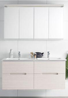 SUN COMPACT 600 KOMPL M SPEGELSKÅP VIT EKSTRUKTUR - Hafa badrum Double Vanity, Kitchen Cabinets, Vit, Bathroom, Home Decor, Restaining Kitchen Cabinets, Washroom, Room Decor, Bathrooms