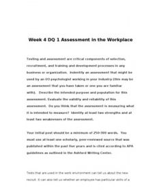 PSY302   PSY 302   Week 4 DQ 1 Assessment in the Workplace --> http://www.scribd.com/doc/143045579/psy302-psy-302-week-4-dq-1-assessment-in-the-workplace