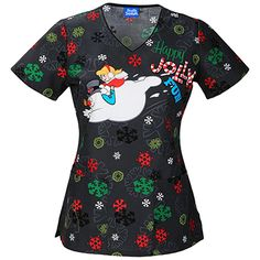 Feel jolly in the Tooniforms by Cherokee Women's V-Neck Frosty the Snowman Print Scrub Top. The classic silhouette offers comfort and versatility in a seasonal print. Missy modern classic fit Solid...