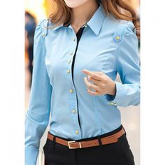 Buttons Embellished Beam Waist Epaulets Cotton Blend Color Matching Formal Blouse For Women