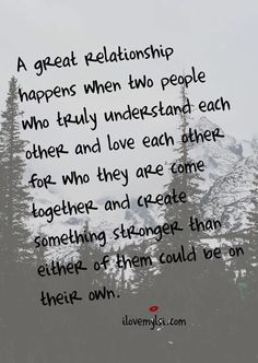 A great relationship is when....