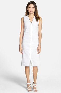 Women's Elie Tahari 'Kate' Linen Blend Front Zip Dress