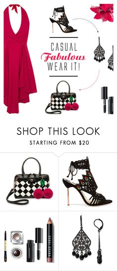 """Pom Pom Bag"" by xiandrina ❤ liked on Polyvore featuring Betsey Johnson, Sophia Webster and 1928"