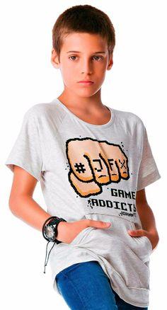 810c5adbfc Camiseta Infantil Johnny Fox Cinza mescla Game Addicted