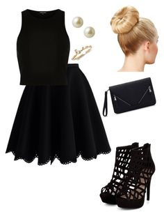 """black"" by vireheart ❤ liked on Polyvore featuring Chicwish, River Island, Carolee, women's clothing, women, female, woman, misses and juniors"