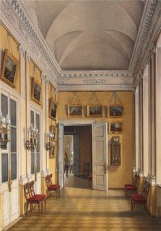 """""""Interiors of the Winter Palace. The Room between the Small Fieldmarshals Hall and the War Gallery"""" by Edward Petrovich Gau (1807-1887)"""