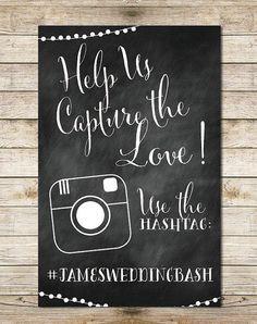Chalkboard Instagram 11x17 Wedding Sign - Paper Goods, Hashtag Wedding, String Lights Digital Wedding Sign by Southern Spruce repinned by michael eric berrios DJMC #weddingdj