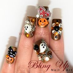 Halloween Nail Art - Glitter Dark Brown Nail Tips with Pumpkins, Purple Hearts, Chains, and Ghosts