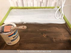 My Newly Refinished Wood Bathroom Countertop (And A Peek At The New Cabinet Color) - Addicted 2 Decorating® Staining Pine Wood, Stain On Pine, Weathered Furniture, Pine Furniture, Furniture Projects, Diy Projects, Oil Based Stain, Water Based Stain, Countertop Redo