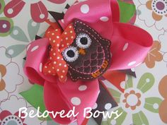 Embroidered Felt Owl Spikey Boutique Style Hair Bow Orange Pink Brown. $7.99 USD, via Etsy.
