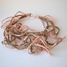 Pastel Textile Jewellery-Statement Fiber Necklace-Contemporary Linen Necklace MYRICAE-Summer Necklace-Italian Design-Breastfeeding Necklace