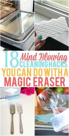 These Magic Eraser Hacks are great for projects around your home. Check out all the mind blowing ways you can use a Magic Eraser! Cleaning hacks for moms. Household Cleaning Tips, Cleaning Recipes, House Cleaning Tips, Cleaning Hacks, Diy Hacks, Household Cleaners, Cleaning Checklist, Organizing Tips, Cleaning Supplies