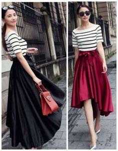 beautiful, modest skirt. Bow Vintage High Waist Hi-Low Pleated Midi Bubble Skirt