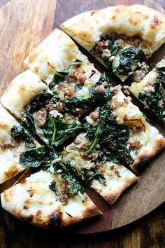 broccoli rabe and sausage pizza with creme fraiche