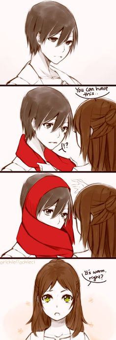 Isn't little female eren and male mikasa cute! The are is cute too!