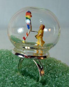 Snowglobe+Ring+Girl+Flying+KiteSpringtime+by+BeadazzledBySharon,+$50.00