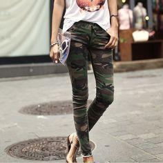 Vintage Camouflage Pockets Design Narrow Feet Pants For Women (CAMO,L)   Vintage Pants