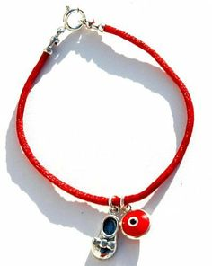 "Kabbalah Red String Baby Shoe Good Luck Bracelet Evil Eye Charms MIZZE Made for Luck Jewelry. $39.00. All charms are 925 Sterling Silver. A beautiful red silk charm bracelet. The bracelet is standard 7"" long. Includes a Baby Shoe silver charm and Red Evil Eye protection charm"