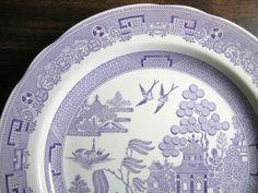 Lavender Purple Chinoiserie Exotic Bird Willow Plate Edge www.DecorativeDishes.net