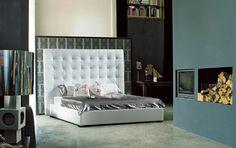 Modern Bonded Leather Bedroom furniture in White - $1087.5 -- Features: Upholstered In White Bonded Leather #furniture #bedroom#ModernMiami #MiamiFurniture #Furnituredesign #HomeDecor #bed #bedroom #modernbed