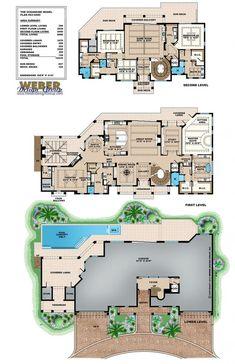 Coastal Floor Plan - Oceanside House - 6 bed, 4 full bath, 2 half bath, 6 car, 6680 sq ft
