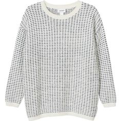 Monki Pirjo kn top (685885 BYR) ❤ liked on Polyvore featuring tops, sweaters, jumpers, abrigo, warm oatmeal, monki, breton top, breton stripe sweater, round neck sweater and breton sweater