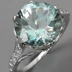 Love it! Aquamarine Engagement Ring Edwardian Style Platinum Diamonds