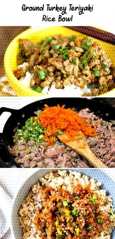Ground Turkey Teriyaki Rice Bowl This Ground Turkey Recipe wi… Ground Turkey Teriyaki Rice Bowl This Ground Turkey Recipe with Teriyaki Sauce and veggies on top of a big bowl of steamed rice makes these Teriyaki Turkey Rice Bowls a family favorite! Ground Turkey Meatloaf, Ground Turkey Soup, Healthy Ground Turkey, Ground Turkey Recipes, Fancy Dinner Recipes, Vegetarian Recipes Dinner, Clean Recipes, Pork Recipes, Teriyaki Rice