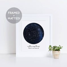 Custom Framed Constellation Map, New Baby Gift, First Anniversary Gift, Personalized Wedding Gift, Night Sky Print, Black and White Print