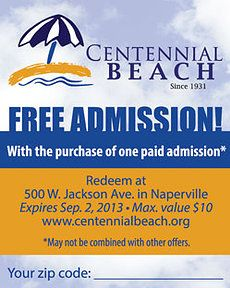 Naperville Centennial Beach Coupon Great coupons for fun in the Chicago Area for the whole family
