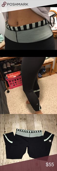 Mint lululemon cropped leggings Super cute cropped lululemon leggings with mint green details! Like new worn a few times. Zero pilling because they are the luxtreme material. Also has a pocket on the back of the waist band. lululemon athletica Pants Leggings
