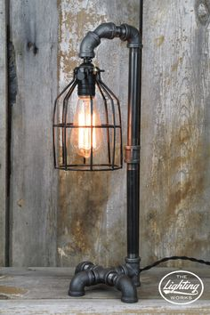 Steampunk Industrial Lamp in a Lamp Post Style ~ Add the perfect touch of steampunk style to any space with this unique lamp post style industrial table lamp! Pipe Lighting, Rustic Lighting, Industrial Lighting, Kitchen Lighting, Lampe Tube, Vintage Industrial Furniture, Industrial Table, Industrial Machine, Pot Mason