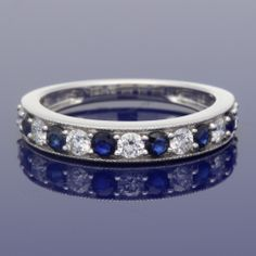18ct Sapphire & Diamond Eternity Ring £1,095.00 Eternity Ring Diamond, Sapphire Diamond, Wedding Bands, Our Wedding, Gold Art, Metal, Rings, Style, Swag