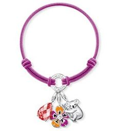 Thomas Sabo Bracelets Cheap Violet Purple Elastic Bracelet Embellished With Three Charms