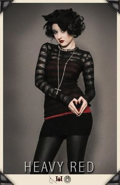 Gothic Hoodies and shirts by Gothic Clothing designer Ondine for Heavy Red Couture Noir. Emo to tattered and torn vintage to modern day Gothic Fashion.