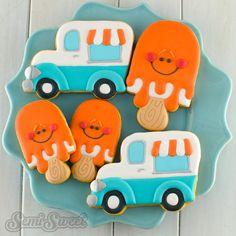 Orange creamsicle cookies ice cream trunk cookies by Semi Sweet Designs