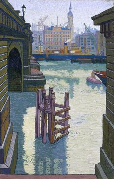 London Bridge: Adelaide House and Fresh Wharf, London - Charles Ginner - 1913 Ripon Cathedral, Norwich Cathedral, London Art, East London, Your Paintings, Landscape Paintings, Landscapes, Leeds Art Gallery, Digital Illustration