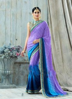 Awesome Blue and Purple Faux Georgette Stylish Saree
